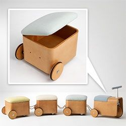 KAMKAM's Gicha - train motifed seating for kids... you can roll around (and drag others for a ride) and store things within!