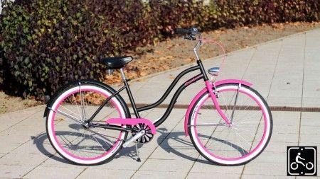 Egyedi Agyváltós Női Cruiser Kerékpár 3sp - Matt fekete-Pink
