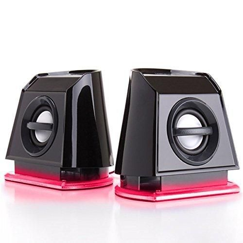 GOgroove BassPULSE 2MX 2.0 USB Multimedia Computer Speakers with Red LED Lights  Dual Drivers & Passive Subwoofer - Works with PC  Apple MAC  Dell & More Computers