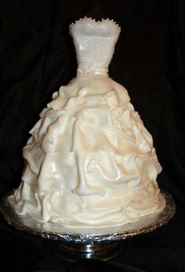 16 best wedding dress cake images on Pinterest   Short wedding gowns ...