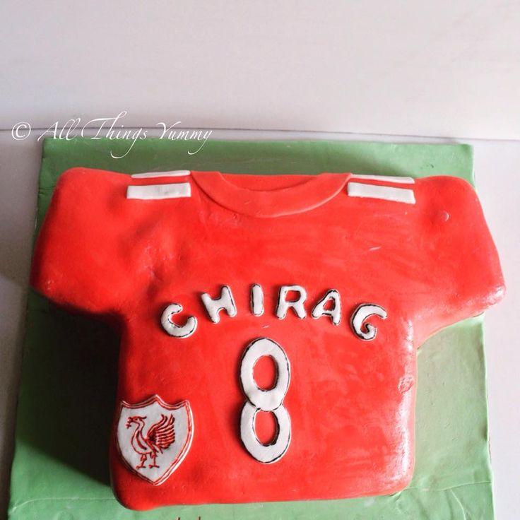 Birthday Cakes for Boys - This time it's Liverpool Jersey Cake #jersey #cake #chocolatecake #atyummy #designercake #customisedcake #redjersey #sports #soccer #soccerfan #football #carvedcake #delhibakery #desserts