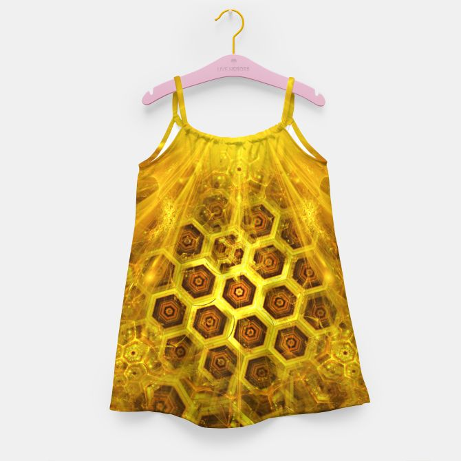 Golden Honeycombs Girl's Dress, Live Heroes @liveheroes by @photography_art_decor. All product: https://liveheroes.com/en/brand/oksana-fineart #fashion #clothing #online #shop #gold #golden #honeycombs #honey #bee #summer #graphic #design #geometry #geometric #yellow #metalic #bright #shine #pattern #psychedelic #abstract #metalic #sun #abstract #briht #pattern  #trendy #stylish #fashionable #modern #awesome #amazing #clothes