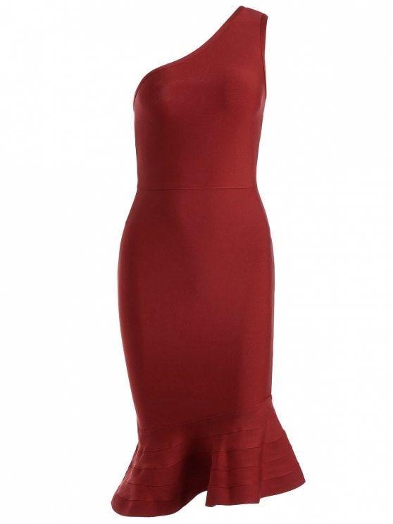 One Shoulder Peplum Prom Dress - RED L