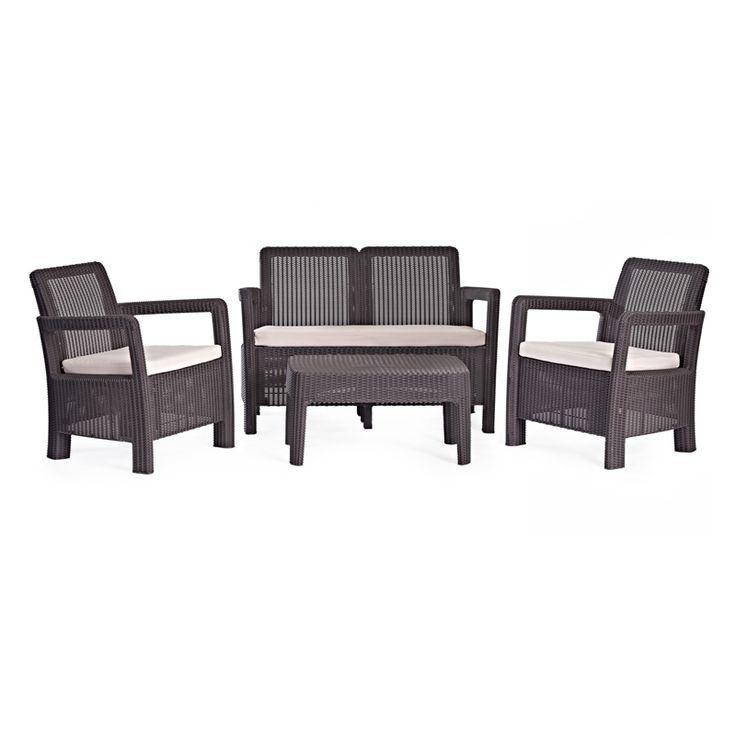 Conjunto ratan resina tarifa lounge set marron curver for Salon de jardin de resina de equilibrio