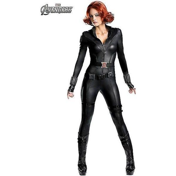 Womens Theatrical Quality Avengers Black Widow Costume ($120) ❤ liked on Polyvore featuring costumes, outfits, avengers, halloween costumes, sexy super hero costumes, womens star wars costume, avengers costumes, sexy women halloween costumes and ladies superhero costumes