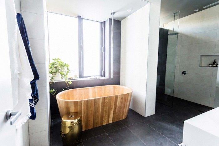 The Block Glasshouse: Ensuite week timber bath