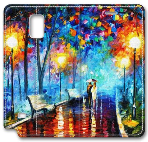 Picture of Rainy Night Walking in A Small Road Leather Cover For Samsung Galaxy Note 4(Compatible With Verizon,AT&T,Sprint,T Mobile,Unlocked,Internatinal)