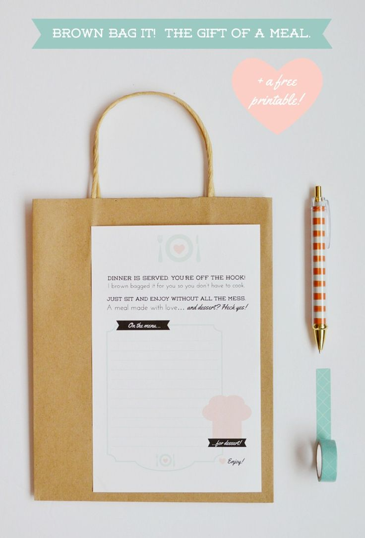 Free printable tag for meal gifting! LOVE this!