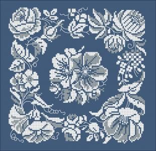 Doily, 1869 | Chart for cross stitch or filet crochet.