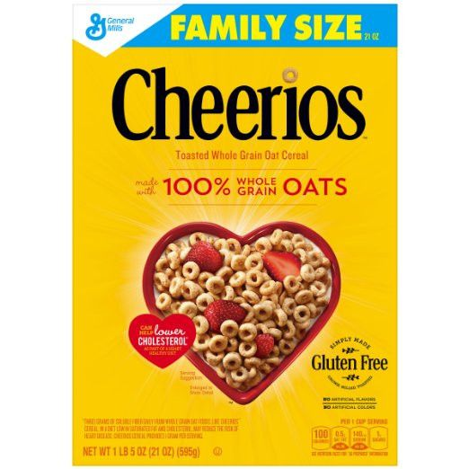 Cheerios Gluten Free Breakfast Cereal, 21 ounce, Family Size Cereal Box