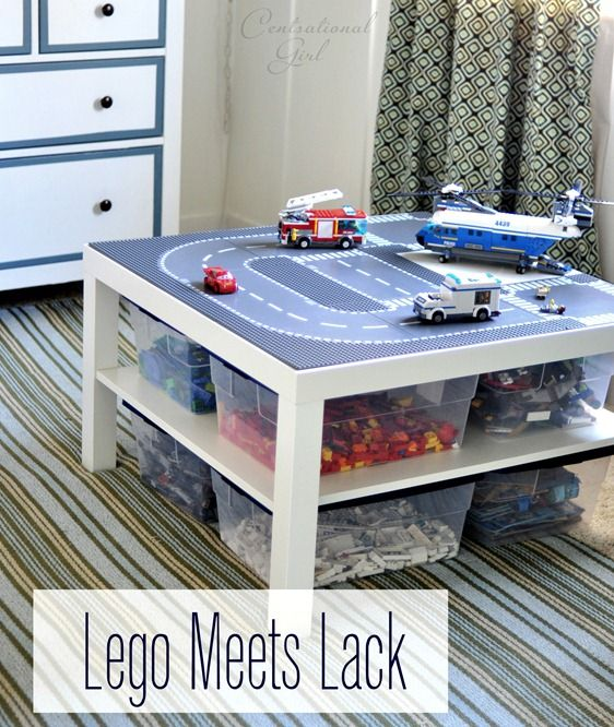 lego meets lack table---will be doing this for legos, sqinkies, littlest pet shops and all the other tiny little toys of Charlie's that Lena shouldn't get!