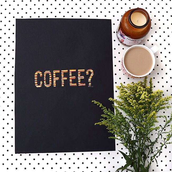 Coffee? | hand stitched art by Deni Paradise | Available at www.daisychainstore.com.au