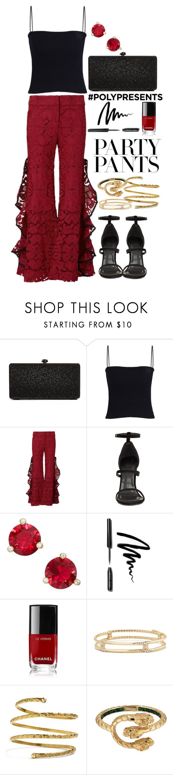 """Polyvore Presents: Lace Fancy Pants"" by nikka-phillips ❤ liked on Polyvore featuring Deux Lux, Adam Selman, Kate Spade, Bobbi Brown Cosmetics, Chanel, David Yurman, Venus, Gucci, party and zara"