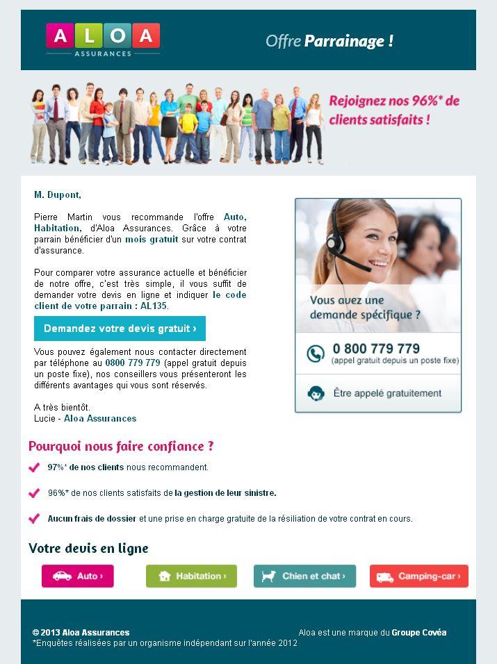 Parrainage Aloa Assurances : Profitez d'un mois gratuit !