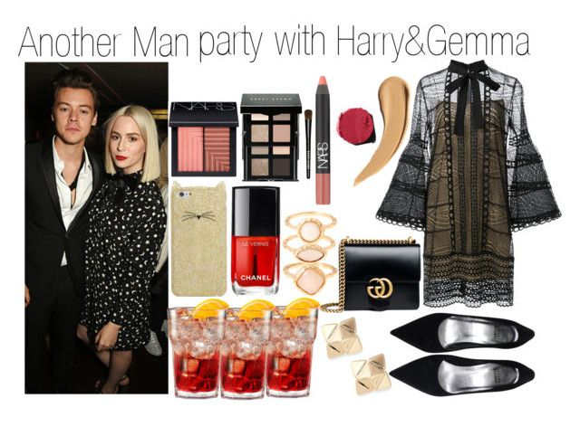 Another Man party with Harry&Gemma by yanatommo on Polyvore featuring mode, Carolina Herrera, Gucci, Monsoon, Valentino, Kate Spade, NARS Cosmetics, Bobbi Brown Cosmetics, Chanel and Payne