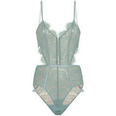 Aqua Blue Scallop Lace Hook Eye Front Cross Strap Back Body (£39) ❤ liked on Polyvore featuring intimates, shapewear, lingerie, underwear and bodysuit