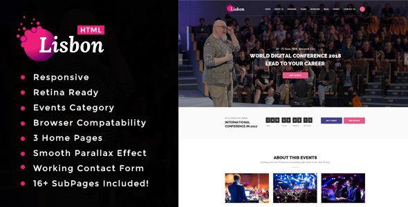 Lisbon - Conference & Event HTML Template http://themeforu.com #webdesign #website #design #responsive #besttemplates #template #SiteTemplates #Entertainment #Events