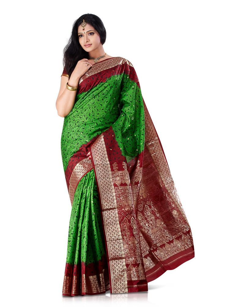 green-paisley-paper-silk-saree for Women From Klasyy Fashion For more visit @ http://indianfashionhub.wordpress.com/2014/07/05/the-charm-of-silk-sarees/