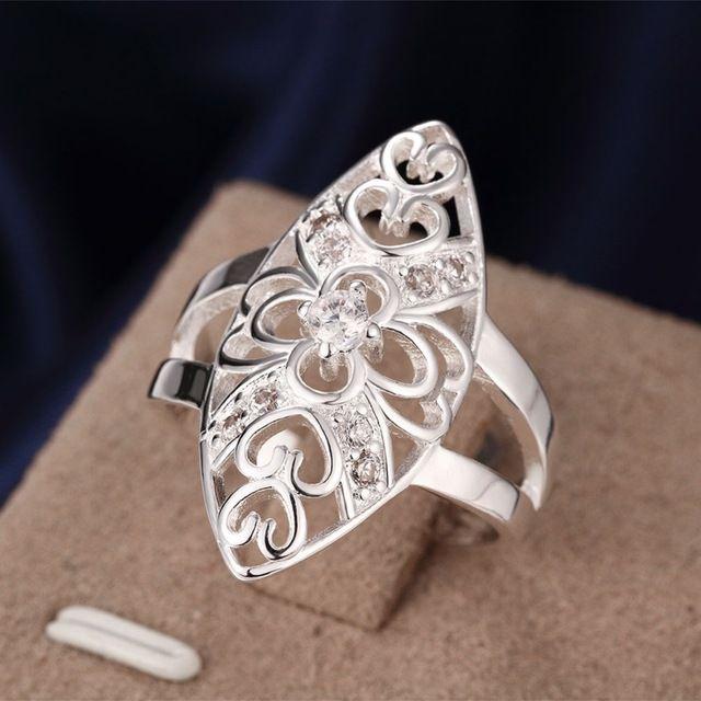 Estilo Británico de moda Elegante Ahueca Hacia Fuera Las Mujeres de calidad Superior Del Corazón Clásico Anillo de plata estampado 925 oro Grande