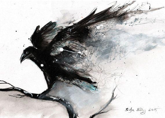 corbeau sur une branche, Matériaux : toile, encre, l'encre de Chine, Aquarelle(21 x 29, 5 cm)