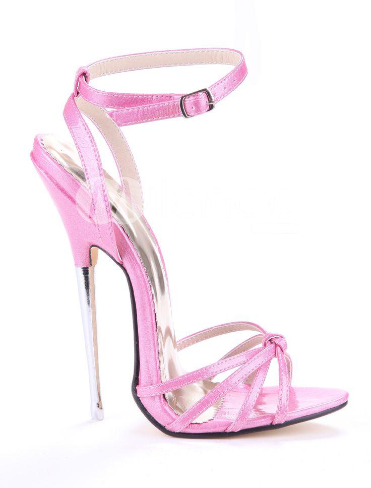 Sandales à talons aigus sexy roses brillantes rubans aux chevilles - Milanoo.com  Hauteur de Talon: 15cm