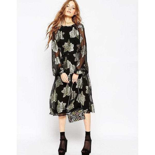 ASOS Foil Floral Midi Skater Dress ($135) ❤ liked on Polyvore featuring dresses, multi, skater dress, floral print dress, mid calf dresses, white sleeve dress and floral dress