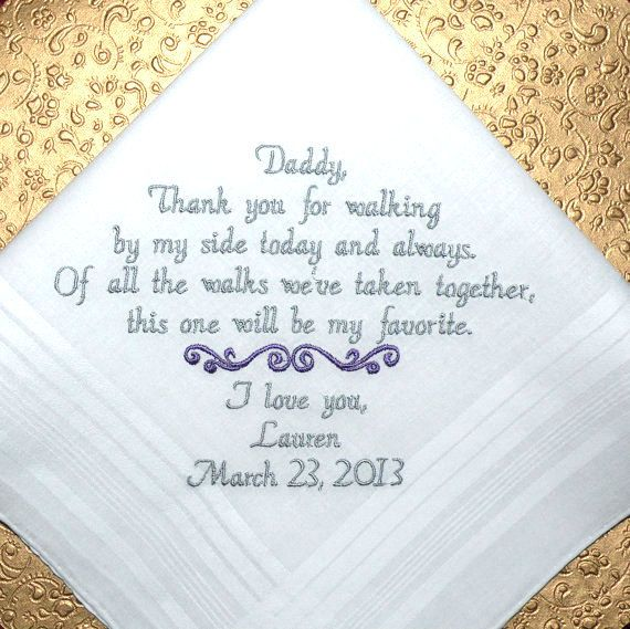 Personalized Hanky Wedding Gift, Gift for Dad, Handkerchief from the Bride, to her Father, Wedding Gift, By Canyon Embroidery