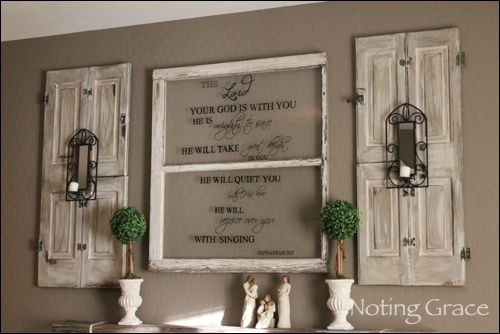 Beautiful Painted windows with glazed shutters from Noting Grace Blog