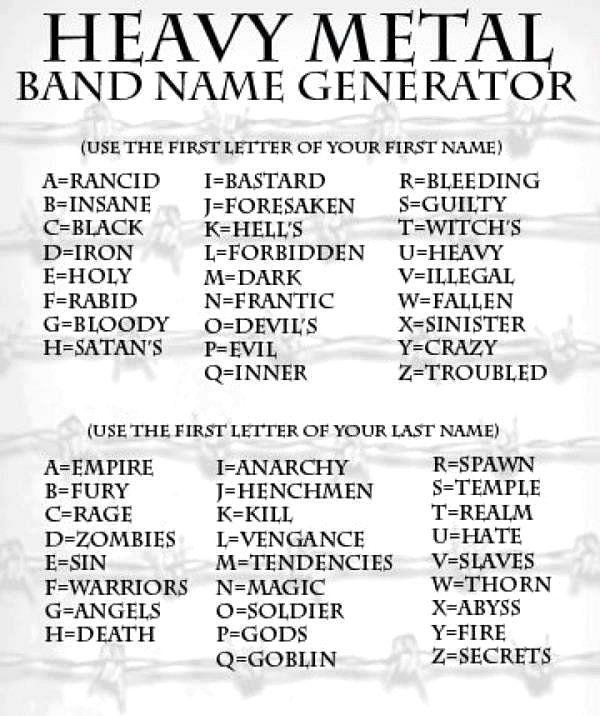 Heavy Metal Band Name Generator -  Forbidden Soldier!