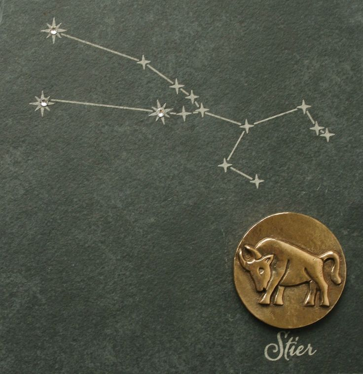Wandrelief Sternzeichen Stier 14, 5 cm Schiefer Swarovski