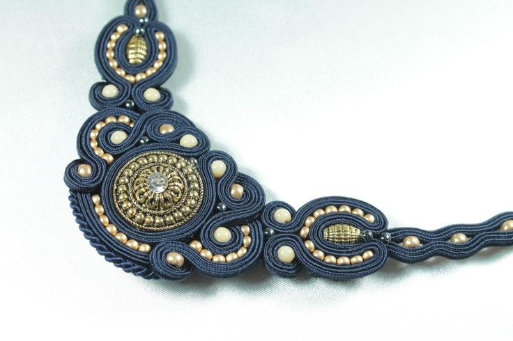 Dark blu soutache necklace.. €35.00, via Etsy.