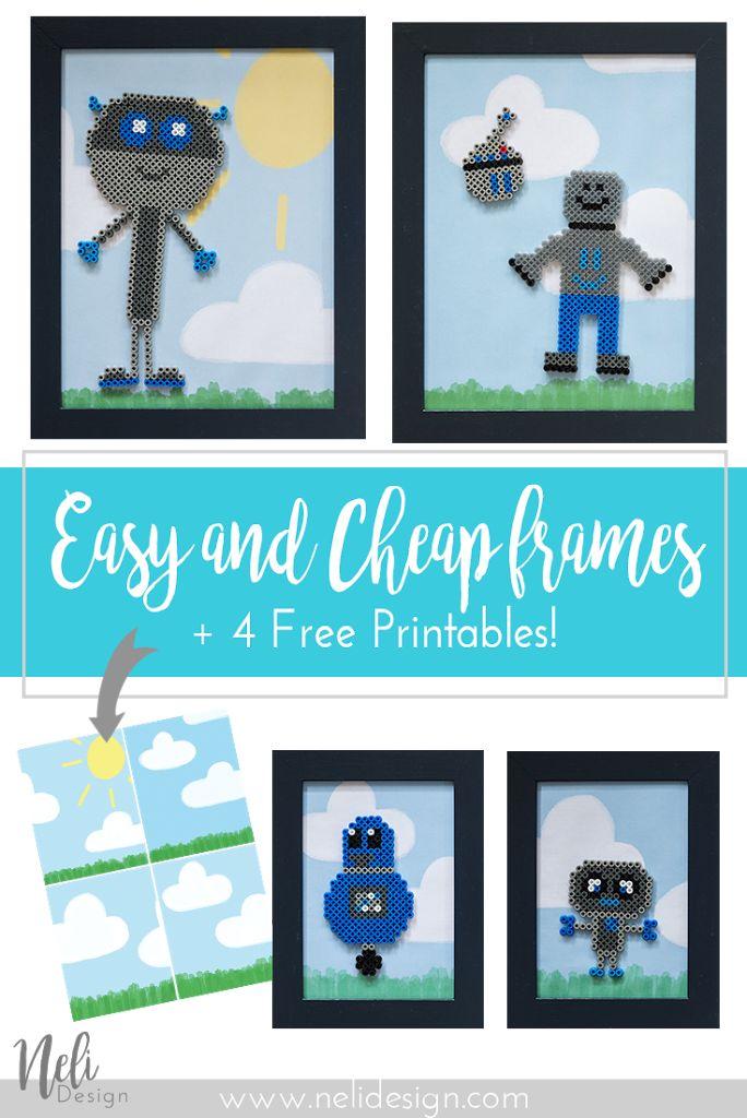 DIY | Frames | Robots | Perler Beads | Crafts | Kids | Children | Gifts | Paint | Free printable | Image | blue | cheap | Easy | IKEA frames |