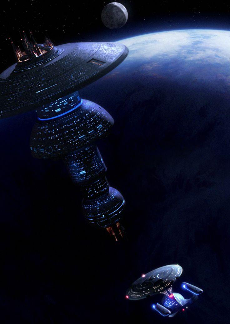 Galaxy-class Enterprise D approaching Starbase 74