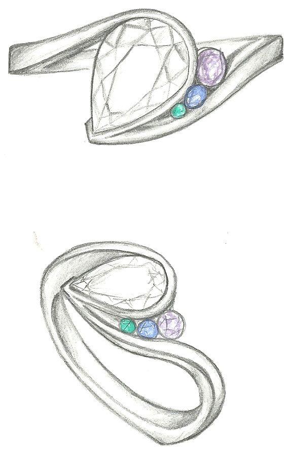 Mark Schneider Design - Escape with pear cut diamond center and tsavorite, sapphire, and amethyst accents
