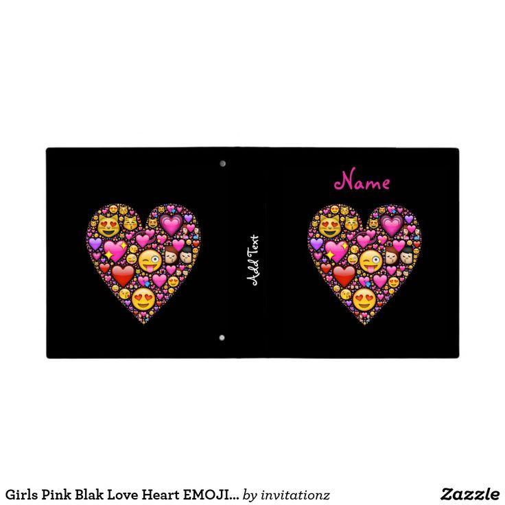 Girls Pink Blak Love Heart EMOJI School stuff