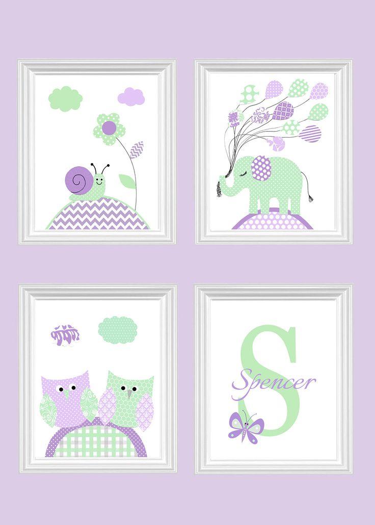 Baby Girl Nursery Art, Mint And Purple Nursery Decor, Elephant, Snail, Owls