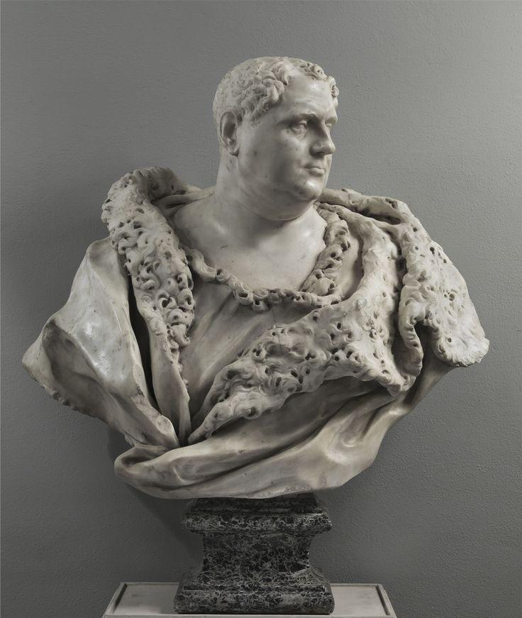 FILIPPO PARODI (Genova 1630-1702)  Busto di Vitellio, 1670 circa  cm. 75x85x40