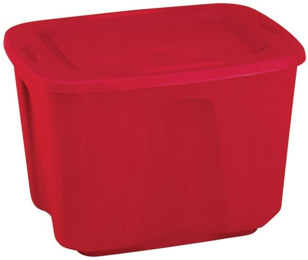 Homz 6618MXR.08 Plastic Storage Tote, Red, 18Gallon Capacity