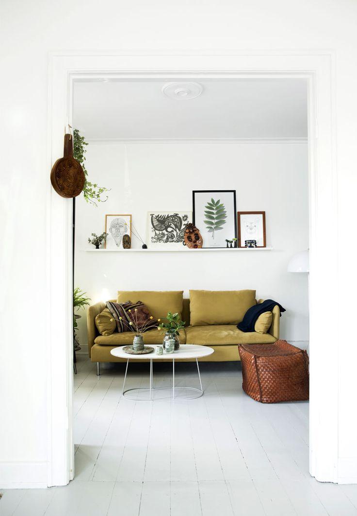 danish modern, retro, houseplants, wire planter, mustard yellow sofa, scandinavian interior, apartment, boho chic, botanical decor