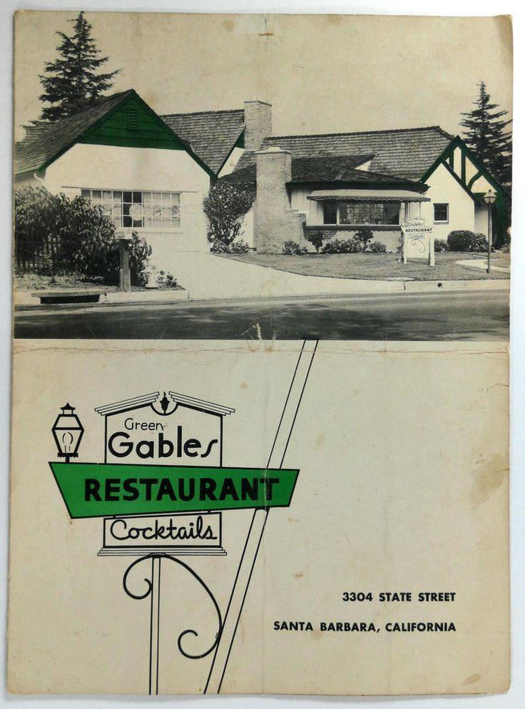 1960's Original Vintage Menu GREEN GABLES Restaurant
