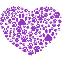 Purple Paw Print | Dog Paws, Trails, Paw-prints, Heart - Purple