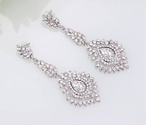 "PAIR Vintage crystal long rhinestone gauges plugs earrings wedding jewelry prom 00g 7/16"" 1/2"" 9/16"" 10mm 11m 12mm 14mm"