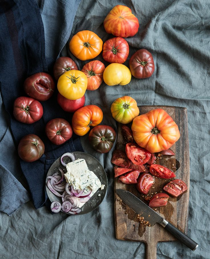 Homegrown heirloom tomatoes warm from the garden
