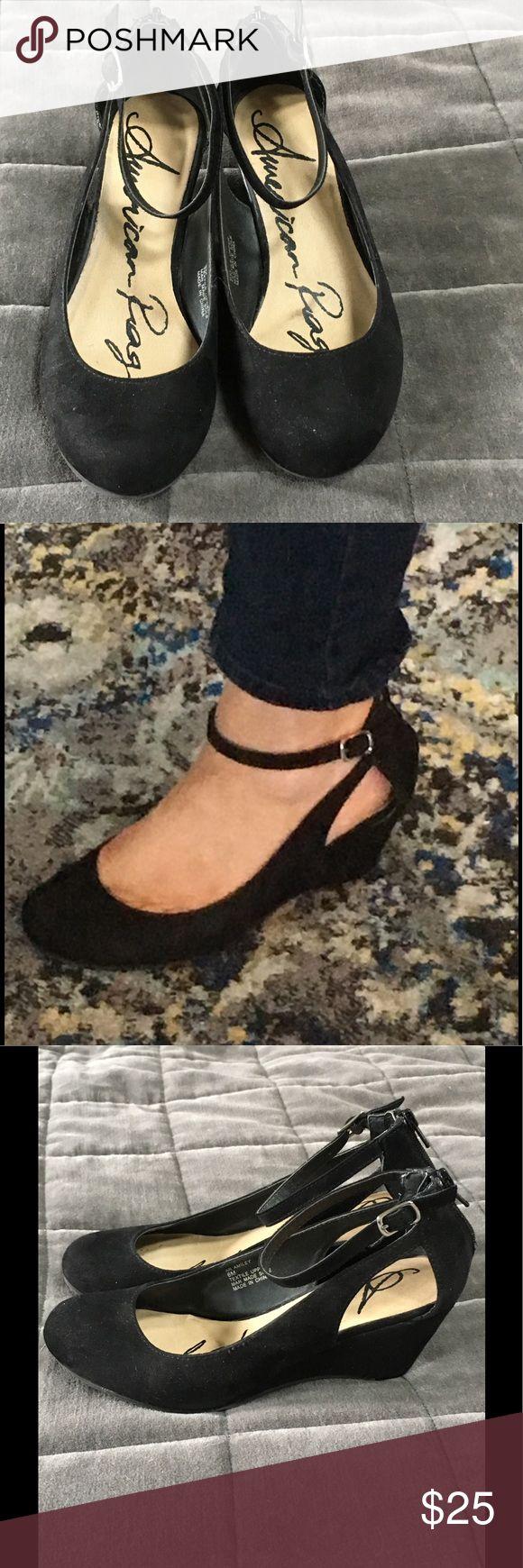 REDUCED! American Rag ankle strap wedges Black suede ankle strap wedges, like new American Rag Shoes Wedges