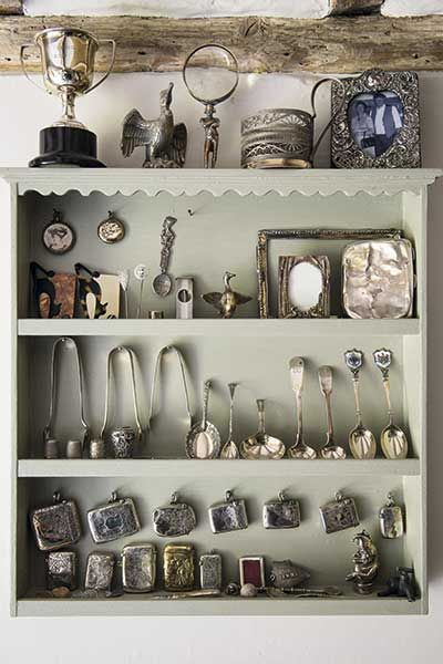 antique silver collection on display