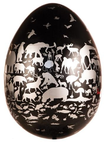'Don't Break the Egg' by Patrick Mavros.  If a child is asked to name all the types of animals they know, their minds race in excited anticipation. If an adult is asked the same question, their brain reaches far and wide hoping that one or even two of the species will not have disappeared before they get to the end of their list. This egg is to make children happy and to make adults think.