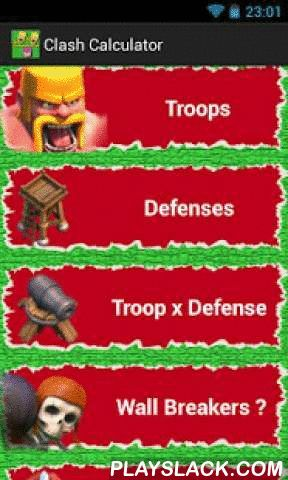 Calculator For Clash  Android App - playslack.com ,  Clash calculator, will help you to choice best troops, when playing clash of clans. You can compare troops and defenses for designing your strategies.* Compare Troops* Compare Defense Buildings* Calcula