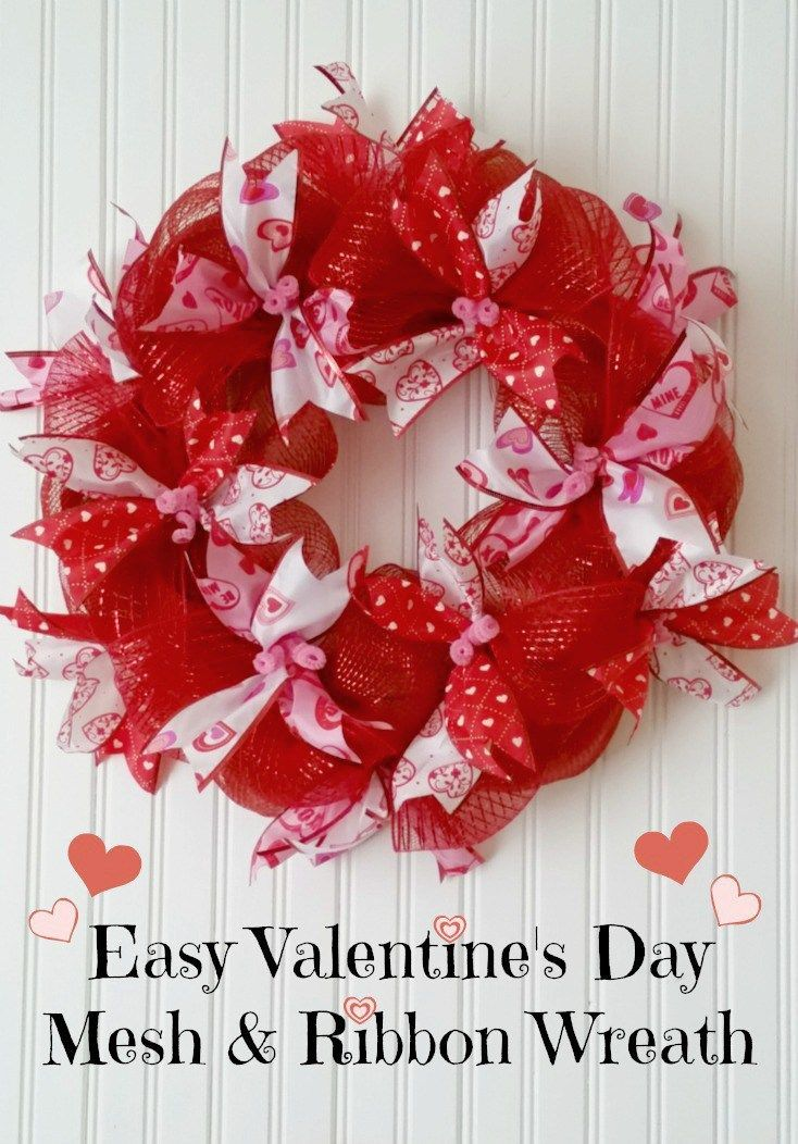 Easy Mesh Ribbon Valentine S Day Wreath Diy Board Pinterest