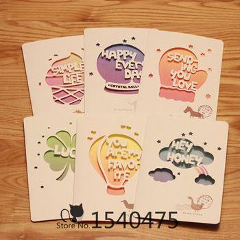 12 комплект / lot своими руками милый - воздушный баллон мороженое Colorful бумага день рождения открытки с конвертом детский подарки влюбленность наилучшими пожеланиями