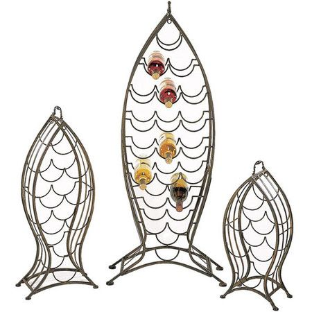 Bring coastal charm to your home bar or dining room with this wine rack set, showcasing fish-inspired designs and space for up to 35 bottles.